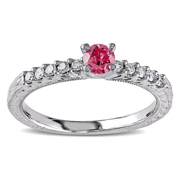 Miadora 10k White Gold 1/2ct TDW Pink and White Diamond Ring (H-I, I1-I2)