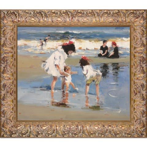 Edward Henry Potthast 'Children Playing at the Seashore' Framed Canvas Art