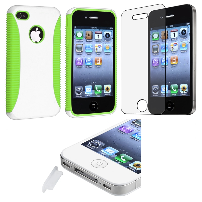 Green Hybrid Case/ LCD Protector/ Plug Cap for Apple iPhone 4S