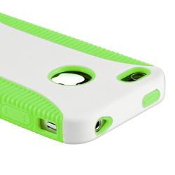 Green Hybrid Case/ LCD Protector/ Plug Cap for Apple iPhone 4S - Thumbnail 2