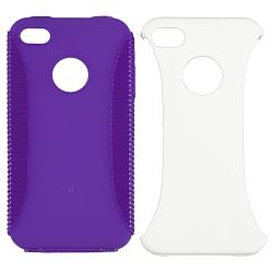 INSTEN Purple Hybrid Case Cover/ LCD Protector/ Audio Cable for Apple iPhone 4S