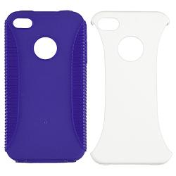 Blue Hybrid Case/ Screen Protector/ Plug Cable for Apple iPhone 4S - Thumbnail 1