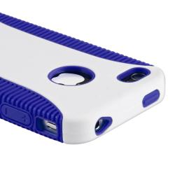 Blue Hybrid Case/ Screen Protector/ Plug Cable for Apple iPhone 4S - Thumbnail 2
