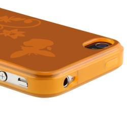 INSTEN Clear Orange Flower Butterfly TPU Rubber Phone Case Cover for Apple iPhone 4/ 4S