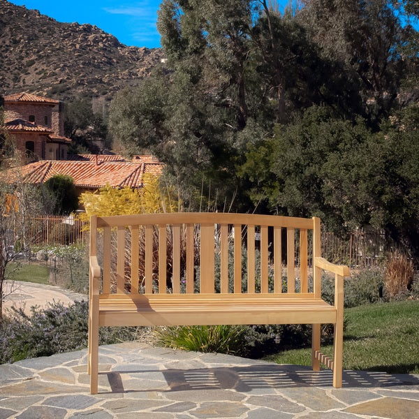 Jonas Deluxe Eucalyptus wood Outdoor Bench by Christopher Knight Home