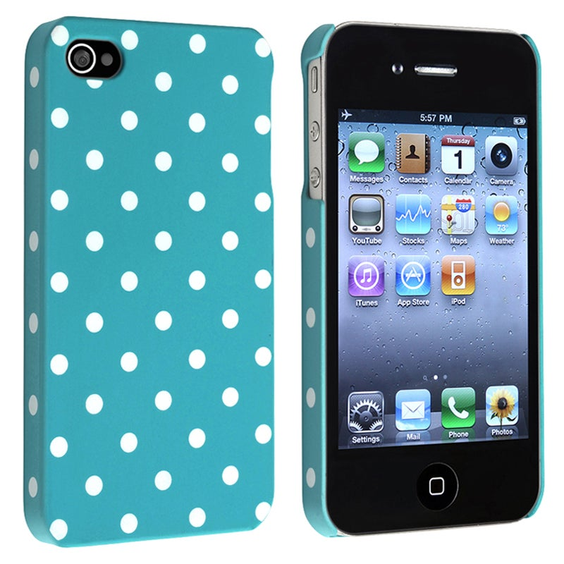 INSTEN Blue with White Dot Snap-on Rubber Coated Phone Case Cover for Apple iPhone 4/ 4S