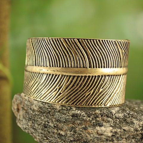 Handmade Goldtone Embossed Feather Cuff Bracelet (India)