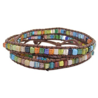 Handmade Brown Leather and Square Glass Stone Mosaic Wrap Bracelet (India)
