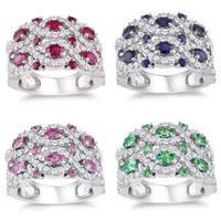 Miadora Sterling Silver 2 3/4ct TGW Gemstone and White Sapphire Ring