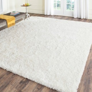 Safavieh Handmade Malibu Shag White Polyester Rug (7' Square)