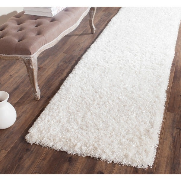 Safavieh Handmade Malibu Shag White Polyester Runner (2'3 x 9')