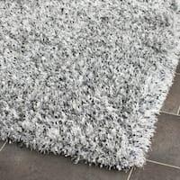 Safavieh Handmade Malibu Shag Silver Polyester Runner Rug - 2'3 x 9'