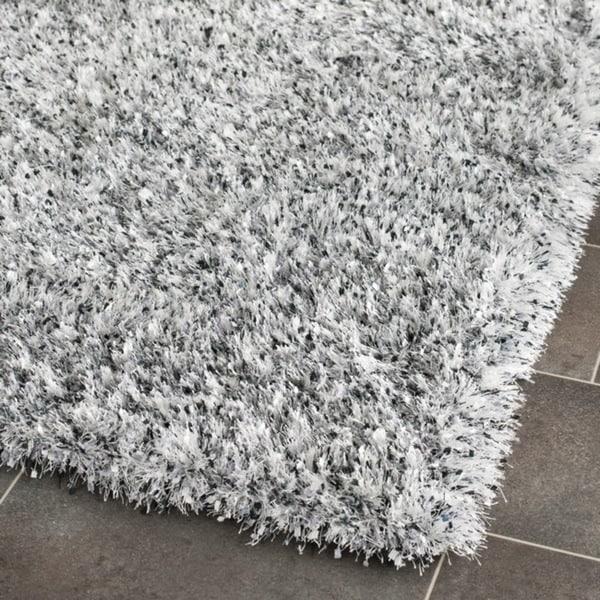 Safavieh Handmade Malibu Shag Silver Polyester Runner (2'3 x 9')