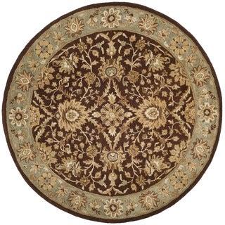 Safavieh Handmade Kerman Chocolate/ Gold Wool Rug (8' Round)