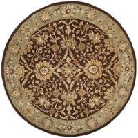 Safavieh Handmade Kerman Chocolate/ Gold Wool Rug - 8' x 8' Round