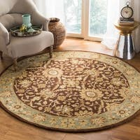 Safavieh Handmade Kerman Chocolate/ Gold Wool Rug - 6' x 6' Round