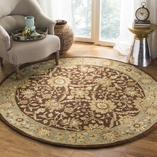 Safavieh Handmade Kerman Chocolate/ Gold Wool Rug (3'6 Round)
