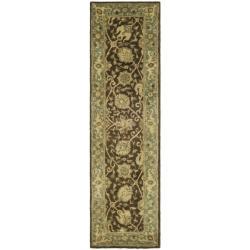 Safavieh Handmade Mashad Brown/ Green Wool Rug (2'3 x 12')