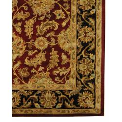 Safavieh Handmade Heritage Traditional Kashan Burgundy/ Black Wool Rug (9' x 12') - Thumbnail 2
