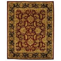 Safavieh Handmade Heritage Traditional Kashan Burgundy/ Black Wool Rug - 9' x 12'