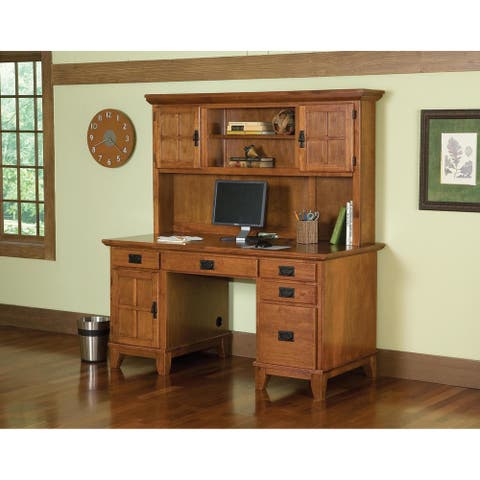 Home Styles Arts and Crafts Cottage Oak Pedestal Desk and Hutch Set