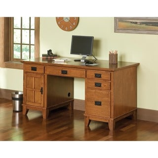 Arts and Crafts Cottage Oak Pedestal Desk by Home Styles