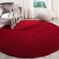 Safavieh Handmade Monterey Shag Red Polyester Rug - 5' x 5' round