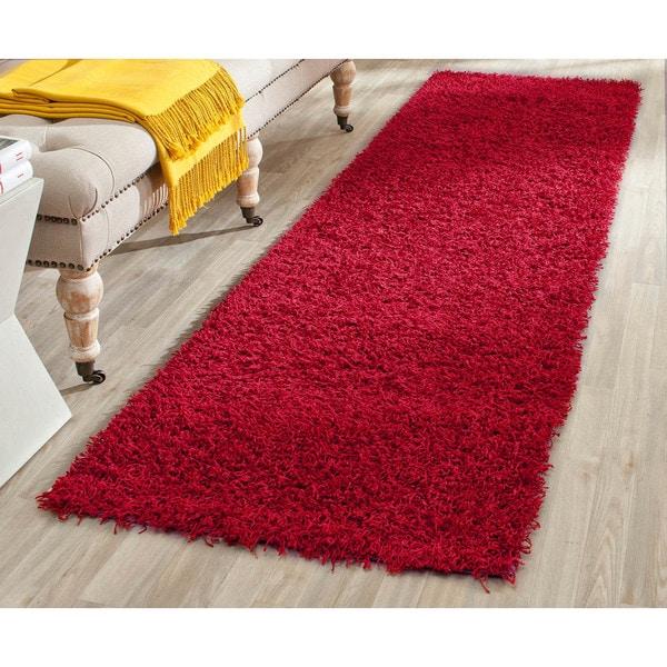 Safavieh Handmade Monterey Shag Red Polyester Runner (2'3 x 7')