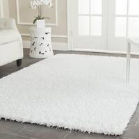 Safavieh Handmade Monterey Shag White Polyester Rug (5' Square) - 5' Square