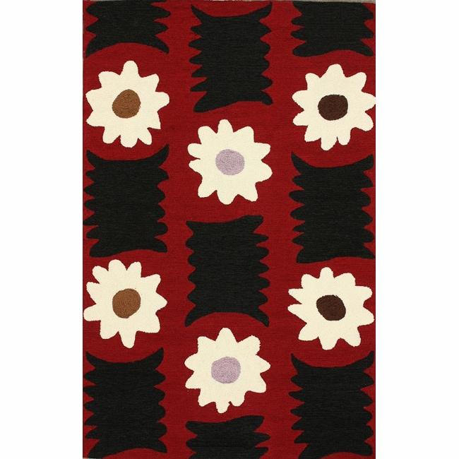 nuLOOM Handmade Polynesia Black Floral Rug (7'6 x 9'6)