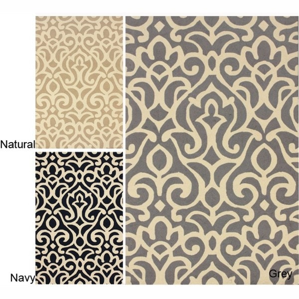 nuLOOM Handmade All Over Damask Wool Rug (5' x 8')