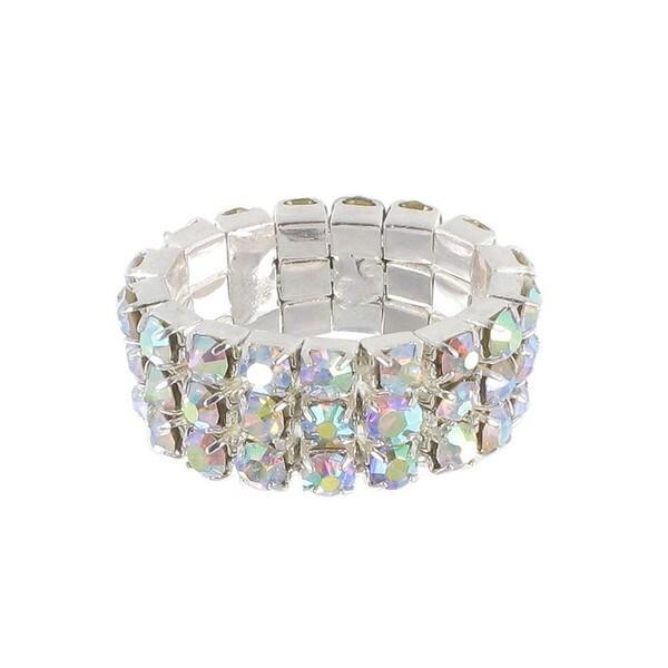 Roman Silvertone Crystal 3-row Stretch Ring