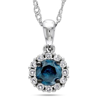 Miadora 10k White Gold 1/2ct TDW Blue and White Diamond Necklace