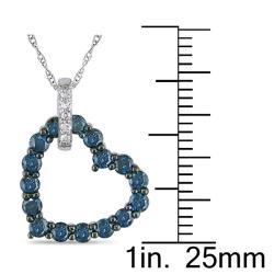 Miadora 10k White Gold 3/4ct TDW Blue and White Diamond Necklace
