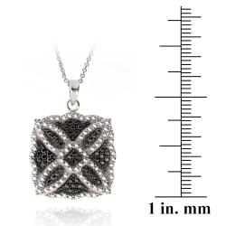 DB Designs Silvertone Black Diamond Accent Square Medallion Necklace