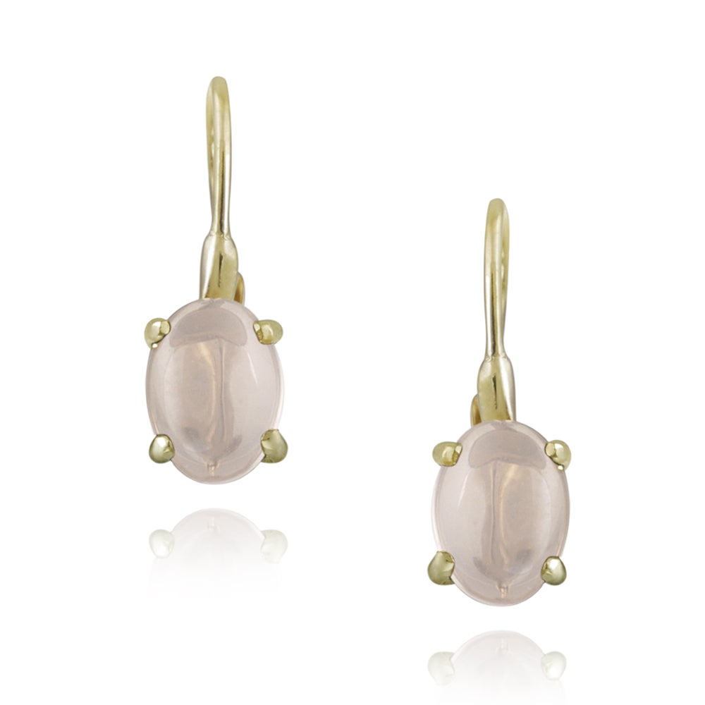 Glitzy Rocks 18k Gold over Silver Rose Quartz Earrings (2 1/10ct TGW)
