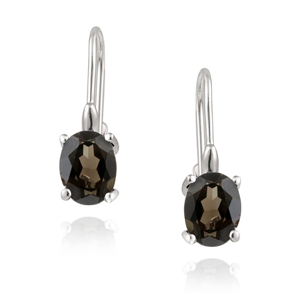 Glitzy Rocks Sterling Silver Smokey Quartz Dangle Earrings (2 1/10ct TGW)