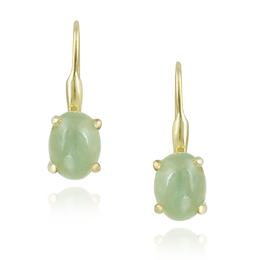 Glitzy Rocks 18k Gold Over Silver Green Jade Earrings 2 1 2ct Tgw