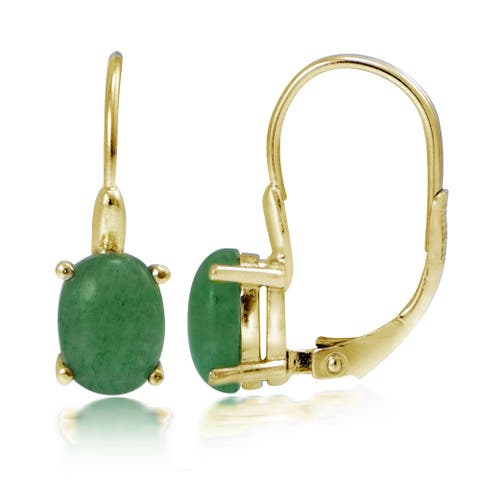 Glitzy Rocks Yellow Gold Flashed Silver Dyed Green Jade Earrings