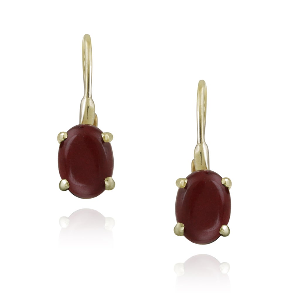 Glitzy Rocks 18k Gold over Silver Coral Earrings (2 1/2ct TGW) - Thumbnail 0