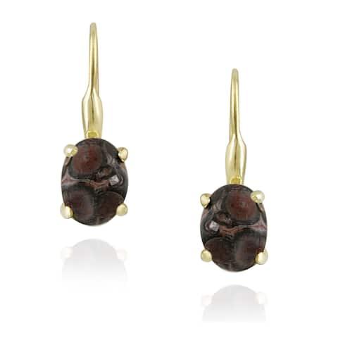 Glitzy Rocks 18k Gold/ Silver Leopard Skin Jasper Earrings (2 1/2ct TGW)