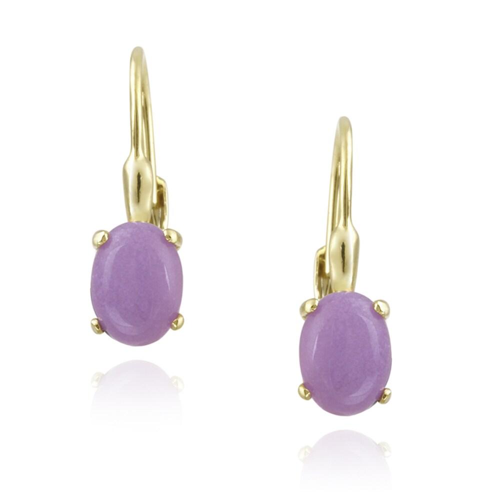 Glitzy Rocks 18k Gold over Silver Lavender Jade Earrings (2 1/2ct TGW)