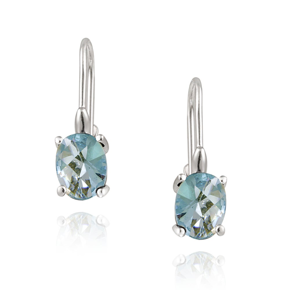 Icz Stonez Sterling Silver Blue Cubic Zirconia Earrings (4 1/8ct TGW) - Thumbnail 0