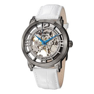 Stuhrling Original Men's Winchester 44 Skeleton Automatic White Gunsmoke Stainless-Steel Leather-Strap Watch