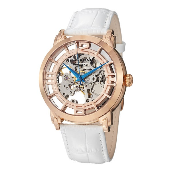 Stuhrling Original Men's Winchester 44 Skeleton Automatic White Leather Strap Watch