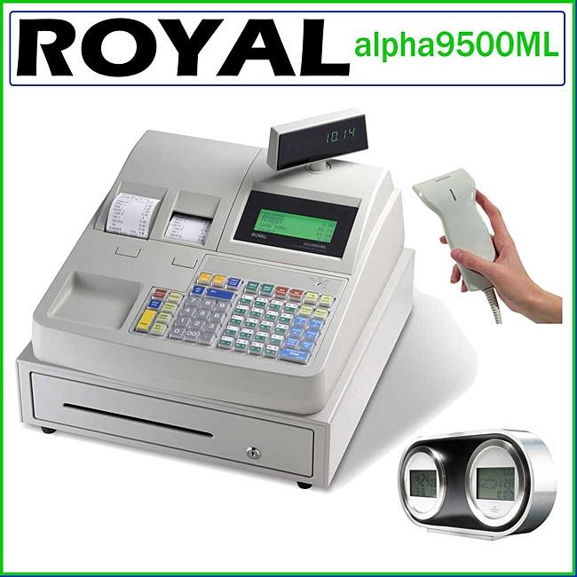 Royal alpha9500ml Electronic Cash Register Bundle with USB Barcode Scanner