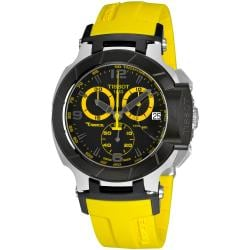 Tissot Men's 'T Race' Black Dial Chronograph Yellow Strap Watch