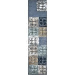 Safavieh Handmade Chatham Squares Grey New Zealand Wool Rug (2'3 x 9')