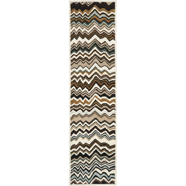 Safavieh Handmade Chatham Zig-Zag Brown New Zealand Wool Rug (2'3 x 9')