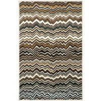 Safavieh Handmade Chatham Zig-Zag Brown New Zealand Wool Rug - 4' x 6'